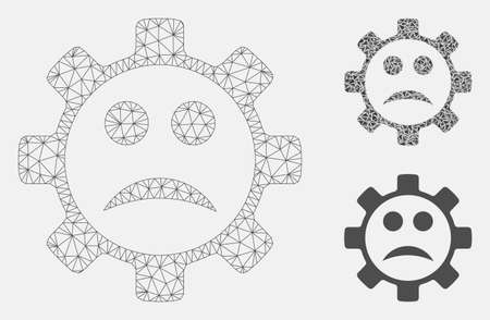 Mesh service gear sad smiley model with triangle mosaic icon. Wire carcass triangular mesh of service gear sad smiley. Vector mosaic of triangle parts in various sizes, and color tones.