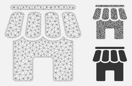 Mesh shop building model with triangle mosaic icon. Wire frame polygonal network of shop building. Vector mosaic of triangle parts in different sizes, and color tones.