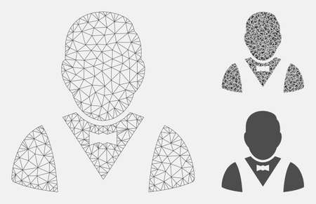 Mesh waiter model with triangle mosaic icon. Wire frame polygonal mesh of waiter. Vector mosaic of triangle elements in variable sizes, and color hues. Abstract flat mesh waiter, Иллюстрация
