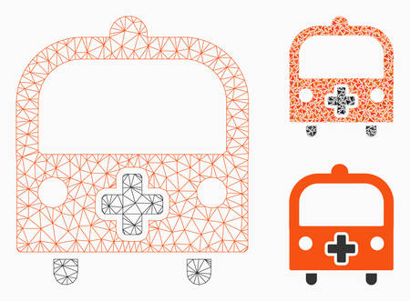 Mesh medical bus model with triangle mosaic icon. Wire frame polygonal mesh of medical bus. Vector mosaic of triangle elements in variable sizes, and color tones. Abstract 2d mesh medical bus, Illustration