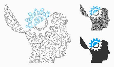 Mesh-Open-Mind-Getriebemodell mit Dreieck-Mosaik-Symbol. Polygonales Geflecht der Drahtkarkasse aus Open-Mind-Ausrüstung. Vektorzusammensetzung von Dreieckselementen in verschiedenen Größen und Farbtönen.