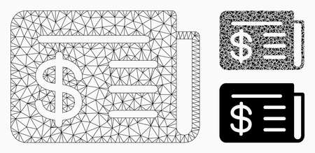 Mesh news model with triangle mosaic icon. Wire carcass triangular network of news. Vector mosaic of triangle parts in various sizes, and color tints. Abstract 2d mesh news,
