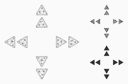 Mesh move out triangles model with triangle mosaic icon. Wire frame polygonal network of move out triangles. Vector mosaic of triangle parts in various sizes, and color tints.