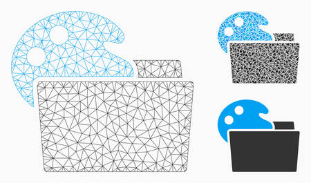 Mesh open palette folder model with triangle mosaic icon. Wire carcass polygonal network of open palette folder. Vector mosaic of triangle elements in variable sizes, and color hues. Illustration