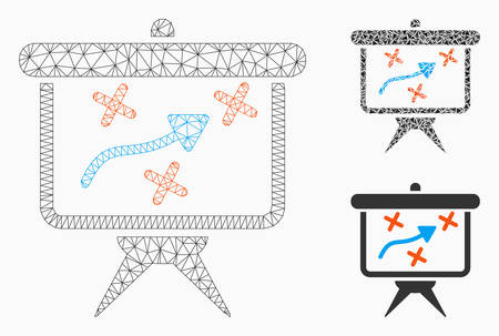 Mesh strategy model with triangle mosaic icon. Wire frame triangular mesh of strategy. Vector composition of triangle elements in variable sizes, and color shades. Abstract 2d mesh strategy, Vektoros illusztráció