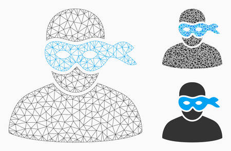 Mesh masked thief model with triangle mosaic icon. Wire carcass polygonal mesh of masked thief. Vector collage of triangle elements in different sizes, and color tints. Illustration