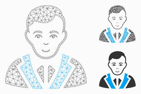 Mesh noble gentleman model with triangle mosaic icon. Wire frame polygonal mesh of noble gentleman. Vector composition of triangle elements in different sizes, and color tones.