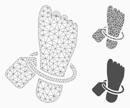 Mesh morgue tagged foot model with triangle mosaic icon. Wire carcass polygonal mesh of morgue tagged foot. Vector mosaic of triangle elements in various sizes, and color tinges. 일러스트