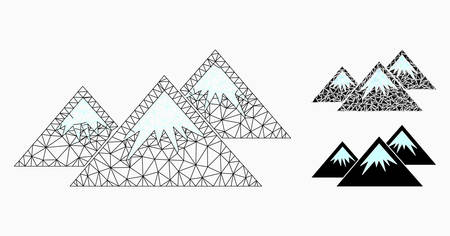 Mesh icecap mountains model with triangle mosaic icon. Wire frame triangular mesh of icecap mountains. Vector mosaic of triangle elements in variable sizes, and color tints. Illustration