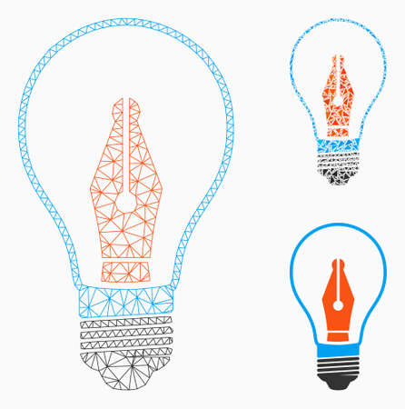 Mesh news maker bulb model with triangle mosaic icon. Wire frame triangular mesh of news maker bulb. Vector collage of triangles in different sizes, and color shades. Abstract 2d mesh news maker bulb, Stock Vector - 127771263