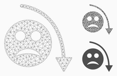 Mesh negative smiley trend model with triangle mosaic icon. Wire carcass triangular mesh of negative smiley trend. Vector mosaic of triangle parts in various sizes, and color tinges.