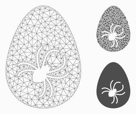 Mesh parasite egg model with triangle mosaic icon. Wire carcass polygonal mesh of parasite egg. Vector collage of triangle elements in variable sizes, and color tones. Abstract flat mesh parasite egg,