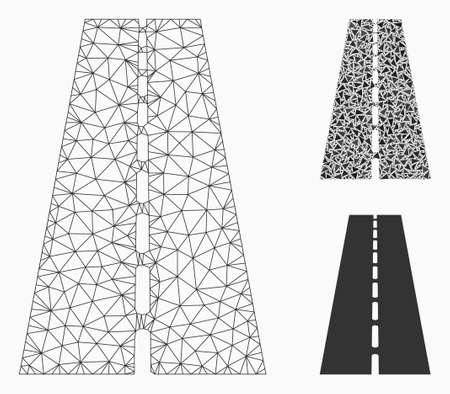Mesh straight road model with triangle mosaic icon. Wire carcass triangular network of straight road. Vector mosaic of triangle parts in different sizes, and color tones.