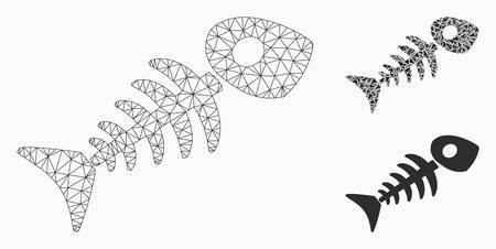Mesh fish skeleton model with triangle mosaic icon. Wire carcass polygonal mesh of fish skeleton. Vector mosaic of triangle elements in variable sizes, and color tones.