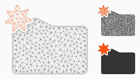 Mesh new folder model with triangle mosaic icon. Wire carcass triangular network of new folder. Vector mosaic of triangle parts in variable sizes, and color tinges. Abstract 2d mesh new folder, Stock Illustratie
