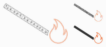 Mesh match flame model with triangle mosaic icon. Wire carcass triangular mesh of match flame. Vector mosaic of triangle elements in various sizes, and color tints. Abstract flat mesh match flame,