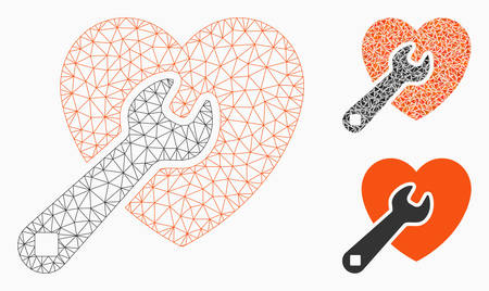 Mesh heart repair model with triangle mosaic icon. Wire frame polygonal mesh of heart repair. Vector mosaic of triangle elements in variable sizes, and color shades. Abstract 2d mesh heart repair,