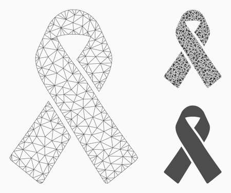 Mesh mourning ribbon model with triangle mosaic icon. Wire carcass triangular mesh of mourning ribbon. Vector collage of triangle elements in various sizes, and color tinges.