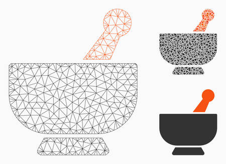 Mesh mortar model with triangle mosaic icon. Wire frame polygonal mesh of mortar. Vector mosaic of triangle parts in various sizes, and color tones. Abstract 2d mesh mortar, designed with triangles.