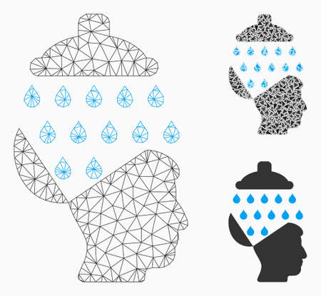 Mesh open brain shower model with triangle mosaic icon. Wire frame polygonal mesh of open brain shower. Vector composition of triangle elements in variable sizes, and color tints. Archivio Fotografico - 127772060
