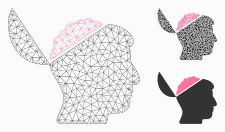 Mesh offenes Gehirnmodell mit Dreiecksmosaiksymbol. Drahtgitter dreieckiges Netz des offenen Gehirns. Vektorzusammensetzung von Dreiecksteilen in variablen Größen und Farbtönen. Abstraktes flaches Netz offenes Gehirn,