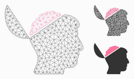 Mesh open brain model with triangle mosaic icon. Wire frame triangular mesh of open brain. Vector composition of triangle parts in variable sizes, and color tints. Abstract flat mesh open brain,