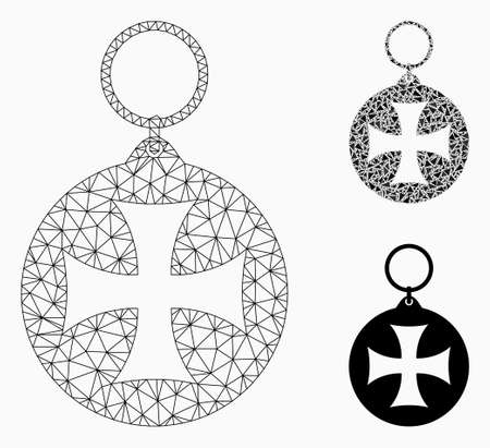 Mesh Maltese cross medal model with triangle mosaic icon. Wire carcass triangular mesh of Maltese cross medal. Vector mosaic of triangle parts in different sizes, and color shades.