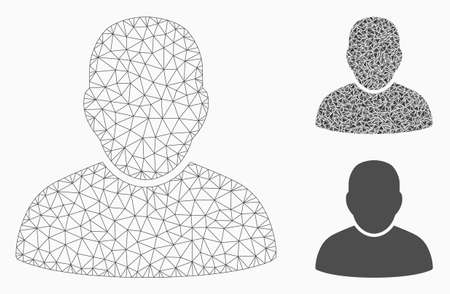 Mesh user model with triangle mosaic icon. Wire carcass triangular mesh of user. Vector mosaic of triangle elements in variable sizes, and color shades. Abstract 2d mesh user,