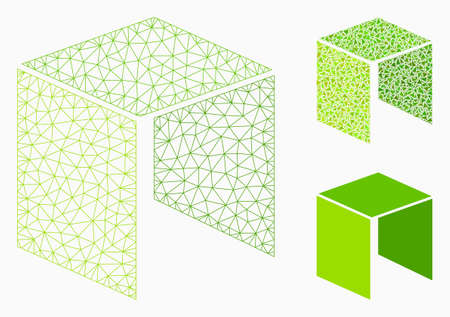 Mesh neo currency model with triangle mosaic icon. Wire carcass triangular mesh of neo currency. Vector mosaic of triangle parts in variable sizes, and color tints. Abstract 2d mesh neo currency,
