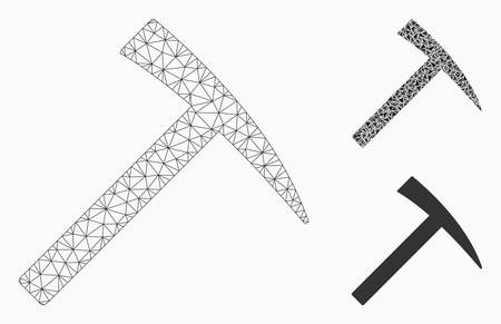Mesh mining hammer model with triangle mosaic icon. Wire carcass triangular mesh of mining hammer. Vector composition of triangle elements in variable sizes, and color hues.