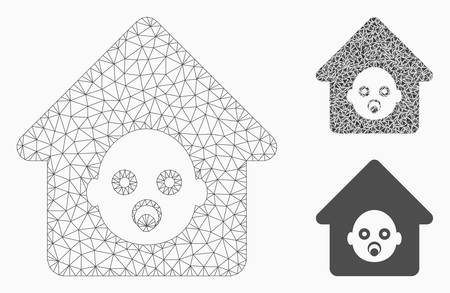 Mesh nursery house model with triangle mosaic icon. Wire frame polygonal mesh of nursery house. Vector mosaic of triangle elements in variable sizes, and color tones. Abstract 2d mesh nursery house,  イラスト・ベクター素材