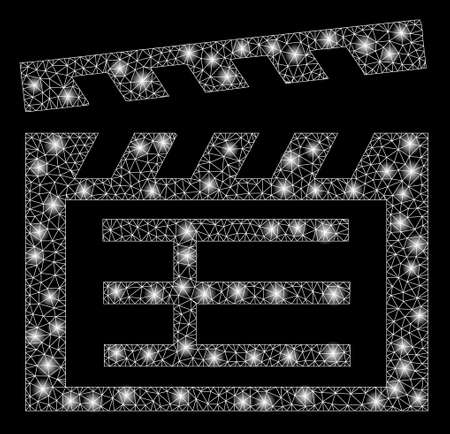 Flare mesh movie clap with glow effect. Abstract illuminated model of movie clap icon. Shiny wire carcass triangular mesh movie clap. Vector abstraction on a black background. Vector Illustration