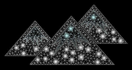Glowing mesh icecap mountains with sparkle effect. Abstract illuminated model of icecap mountains icon. Shiny wire frame triangular mesh icecap mountains. Vector abstraction on a black background.