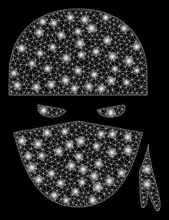 Flare mesh ninja head with sparkle effect. Abstract illuminated model of ninja head icon. Shiny wire frame polygonal mesh ninja head. Vector abstraction on a black background.