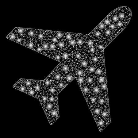 Glossy mesh plane with glare effect. Abstract illuminated model of plane icon. Shiny wire carcass triangular mesh plane. Vector abstraction on a black background. Illustration