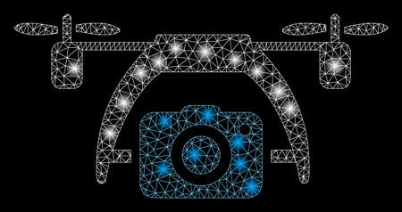 Glowing mesh photo drone with lightspot effect. Abstract illuminated model of photo drone icon. Shiny wire frame polygonal mesh photo drone. Vector abstraction on a black background.
