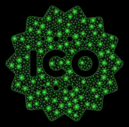 Flare mesh ICO token with glare effect. Abstract illuminated model of ICO token icon. Shiny wire frame polygonal mesh ICO token. Vector abstraction on a black background.
