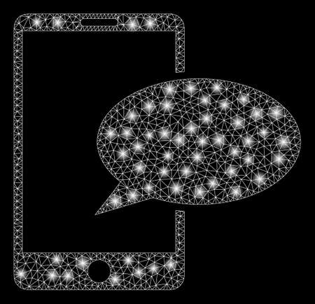 Glowing mesh phone message with lightspot effect. Abstract illuminated model of phone message icon. Shiny wire frame polygonal mesh phone message. Vector abstraction on a black background.
