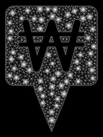 Glowing mesh Korean Won map pointer with sparkle effect. Abstract illuminated model of Korean Won map pointer icon. Shiny wire frame polygonal mesh Korean Won map pointer.