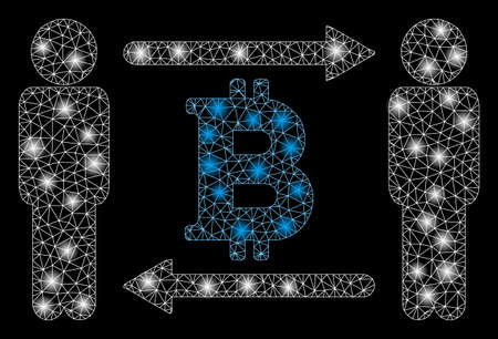 Flare mesh persons exchange Bitcoin with sparkle effect. Abstract illuminated model of persons exchange Bitcoin icon. Shiny wire carcass triangular network persons exchange Bitcoin.