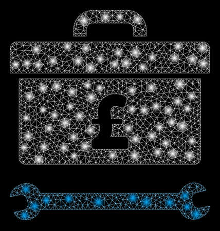 Glowing mesh pound toolbox with glitter effect. Abstract illuminated model of pound toolbox icon. Shiny wire carcass polygonal network pound toolbox. Vector abstraction on a black background.