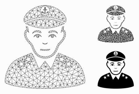 Mesh military captain model with triangle mosaic icon. Wire frame triangular mesh of military captain. Vector mosaic of triangle elements in different sizes, and color hues.