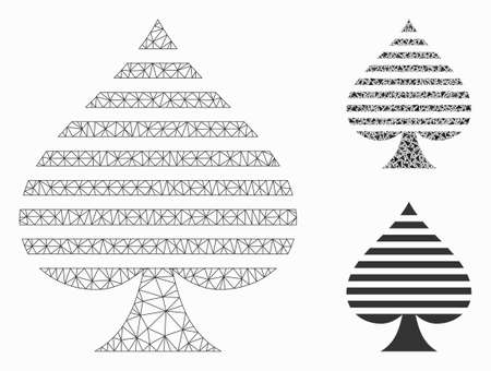 Mesh peaks suit model with triangle mosaic icon. Wire carcass triangular network of peaks suit. Vector mosaic of triangle parts in different sizes, and color hues. Abstract 2d mesh peaks suit,