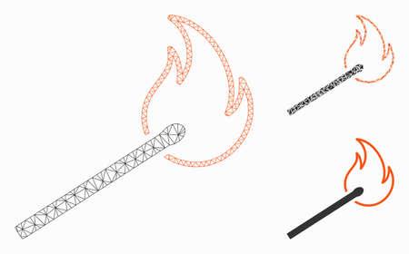 Modèle de flamme de match de maille avec l'icône de mosaïque de triangle. Carcasse métallique en maille triangulaire de flamme d'allumette. Mosaïque vectorielle de pièces triangulaires de différentes tailles et teintes de couleur. Flamme abstraite de match de maille 2d,