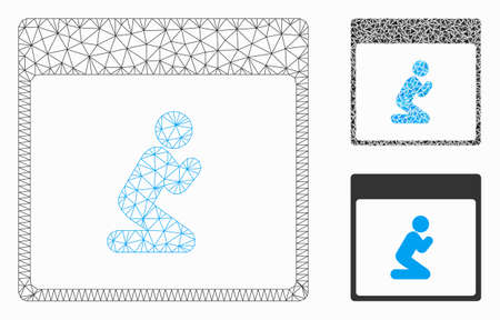 Mesh pray person calendar page model with triangle mosaic icon. Wire frame triangular mesh of pray person calendar page. Vector mosaic of triangle elements in different sizes, and color tints. Ilustrace
