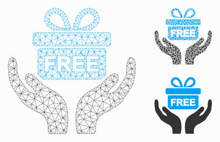 Mesh present give hands model with triangle mosaic icon. Wire frame triangular mesh of present give hands. Vector collage of triangle parts in variable sizes, and color hues.