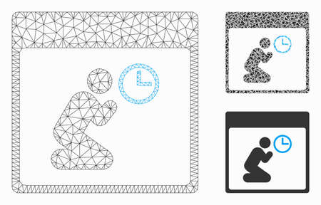 Mesh pray clock calendar page model with triangle mosaic icon. Wire frame triangular mesh of pray clock calendar page. Vector mosaic of triangle elements in variable sizes, and color shades.