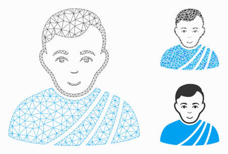 Mesh patrician citizen model with triangle mosaic icon. Wire frame polygonal mesh of patrician citizen. Vector mosaic of triangle elements in variable sizes, and color hues.