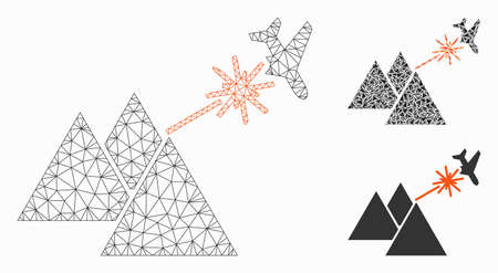 Mesh piramides strike airplane model with triangle mosaic icon. Wire carcass polygonal mesh of piramides strike airplane. Vector collage of triangle parts in variable sizes, and color shades.