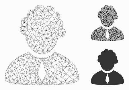 Mesh judge profession model with triangle mosaic icon. Wire carcass polygonal mesh of judge profession. Vector mosaic of triangles in variable sizes, and color tones.